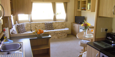 The lounge of one of our holiday homes at Setmabanning Caravan Park